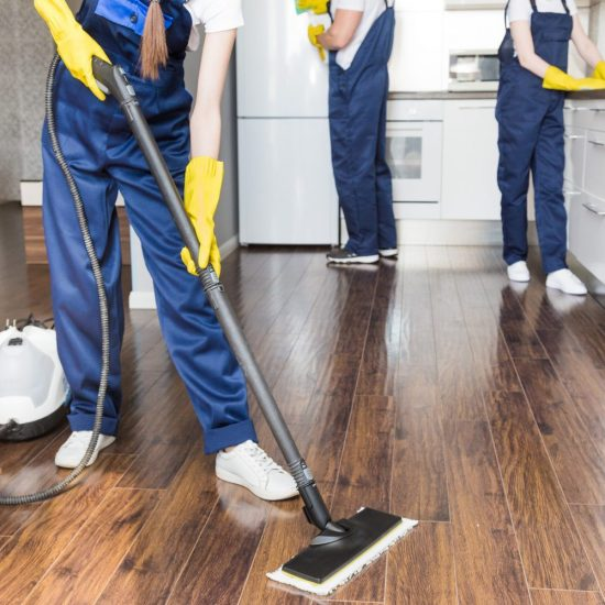 Cleaning Service With Professional Equipment During Work. Profes